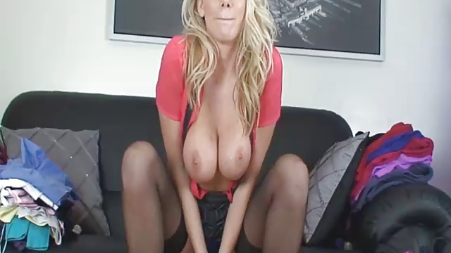 Busty Brit babe Danielle Maye gives wanking instructions while wearing stockings and pleated skirt